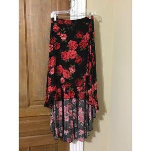 High-low rose skirt